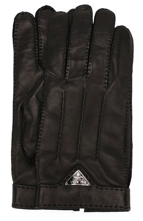 Мужские кожаные перчатки PRADA черного цвета, арт. 2GG003-38-F0002 | Фото 1