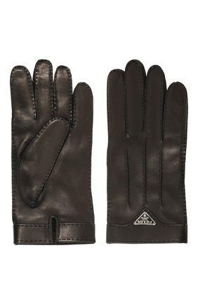 Мужские кожаные перчатки PRADA черного цвета, арт. 2GG003-38-F0002 | Фото 2
