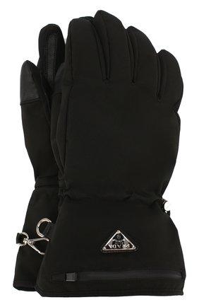 Мужские утепленные перчатки PRADA черного цвета, арт. 2GG089-1L4K-F0002 | Фото 1