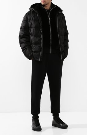 Мужские джоггеры из смеси шерсти и кашемира PRADA черного цвета, арт. UMP50-X4M-F0002   Фото 2