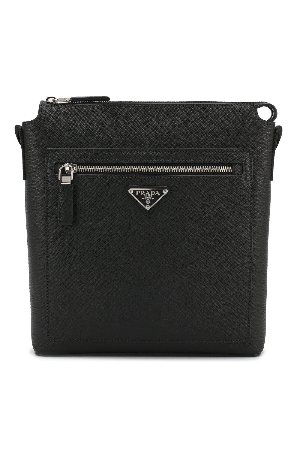 dfd86e0d7752 Мужская черная кожаная сумка-планшет PRADA — купить за 102500 руб. в ...