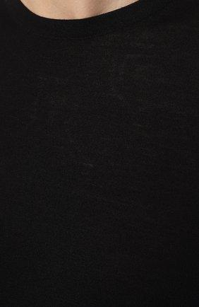 Мужской шерстяной джемпер PRADA синего цвета, арт. UMM984-C5W-F0SVF   Фото 5 (Мужское Кросс-КТ: Джемперы; Материал внешний: Шерсть; Рукава: Длинные; Принт: Без принта; Длина (для топов): Стандартные; Вырез: Круглый)