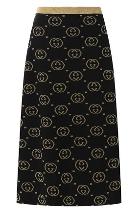 Женская шерстяная юбка GUCCI черного цвета, арт. 555179/XKAH9   Фото 1