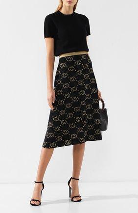 Женская шерстяная юбка GUCCI черного цвета, арт. 555179/XKAH9   Фото 2