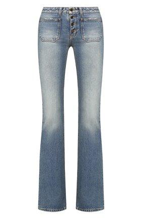 Женские расклешенные джинсы с потертостями SAINT LAURENT голубого цвета, арт. 545666/Y883A | Фото 1