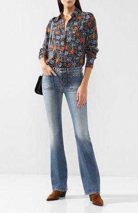 Женские расклешенные джинсы с потертостями SAINT LAURENT голубого цвета, арт. 545666/Y883A | Фото 2