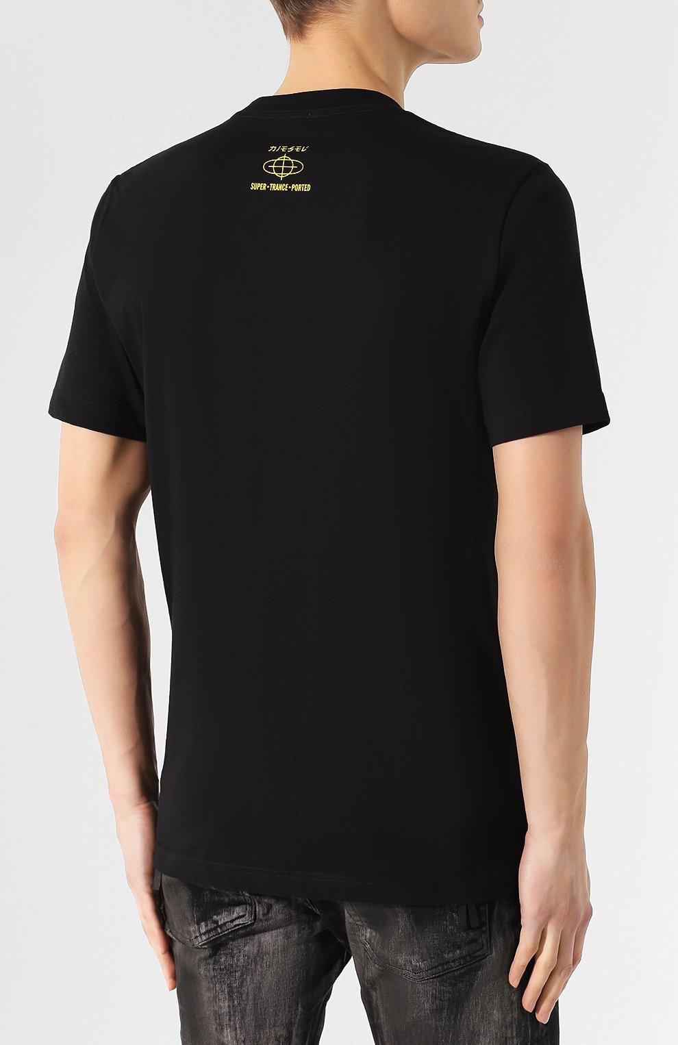 Хлопковая футболка  Diesel черная   Фото №4