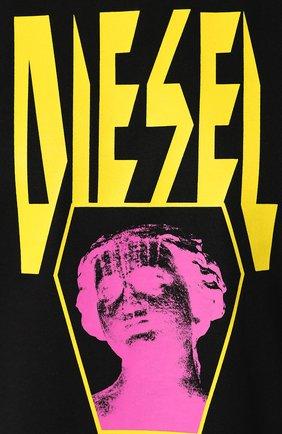 Хлопковая футболка  Diesel черная   Фото №5