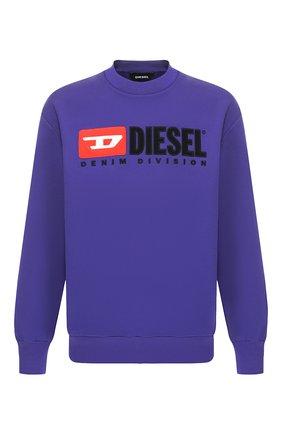 Хлопковый свитшот с принтом Diesel сиреневый | Фото №1