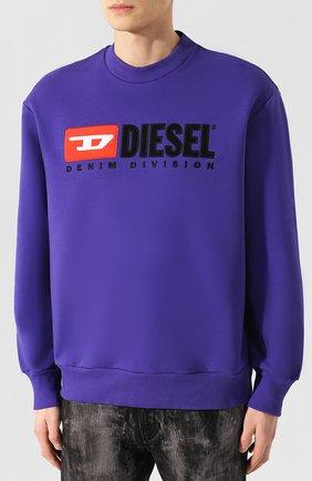 Хлопковый свитшот с принтом Diesel сиреневый | Фото №3