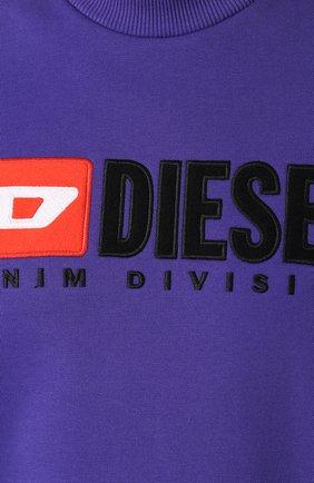 Хлопковый свитшот с принтом Diesel сиреневый | Фото №5