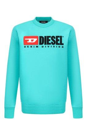 Хлопковый свитшот с принтом Diesel зеленый | Фото №1