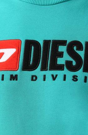 Хлопковый свитшот с принтом Diesel зеленый | Фото №5