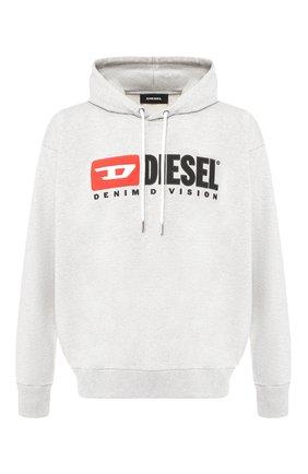 Хлопковое худи Diesel серый | Фото №1