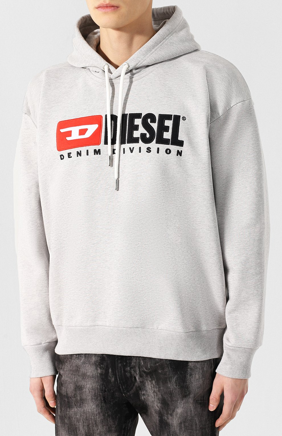 Хлопковое худи Diesel серый | Фото №3