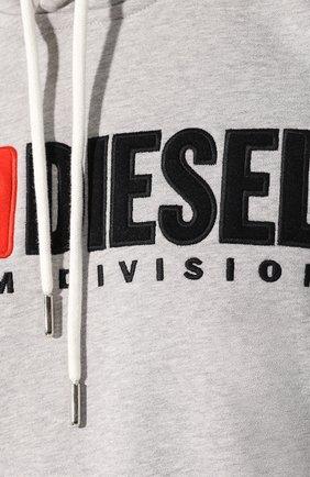 Хлопковое худи Diesel серый | Фото №5