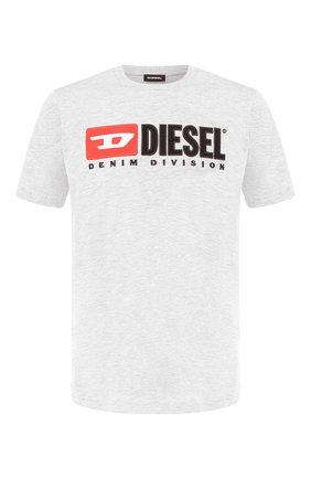 Мужская хлопковая футболка  DIESEL серого цвета, арт. 00SH0I/0CATJ | Фото 1
