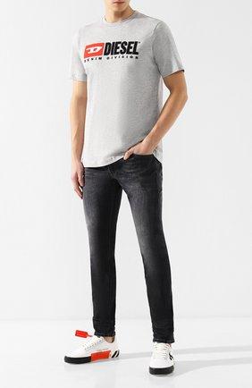 Мужская хлопковая футболка  DIESEL серого цвета, арт. 00SH0I/0CATJ | Фото 2