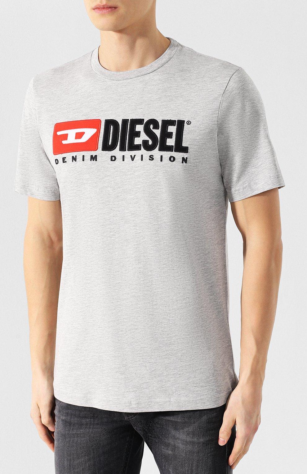 Хлопковая футболка  Diesel серая   Фото №3