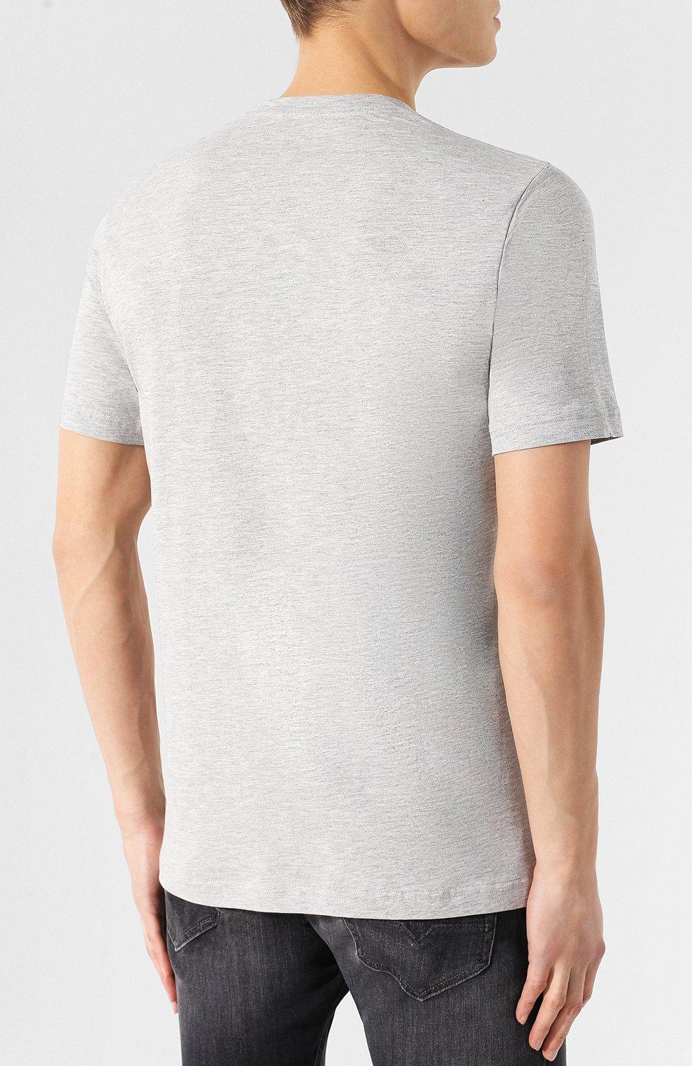 Хлопковая футболка  Diesel серая   Фото №4