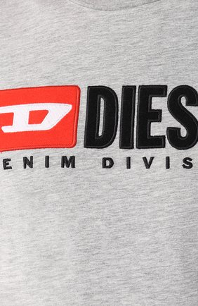 Хлопковая футболка  Diesel серая   Фото №5