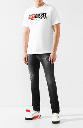 Мужская хлопковая футболка  DIESEL белого цвета, арт. 00SH0I/0CATJ | Фото 2