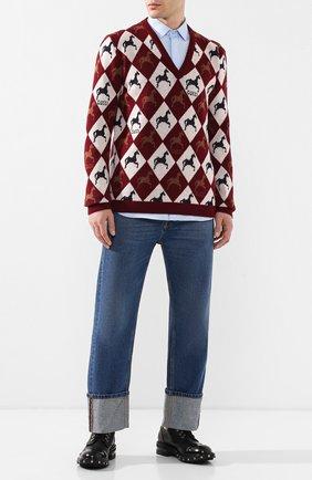 Мужской шерстяной пуловер GUCCI разноцветного цвета, арт. 545755/XKAD4 | Фото 2