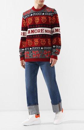 Мужской шерстяной свитер GUCCI разноцветного цвета, арт. 545749/XKAD0 | Фото 2