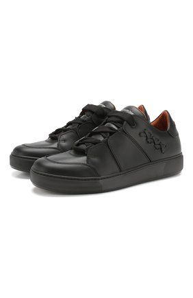 Мужские кожаные кеды tiziano ZEGNA COUTURE черного цвета, арт. A4005X-SWY | Фото 1