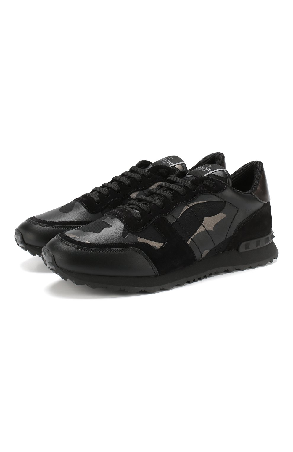 61610bc90953 Мужские черные кожаные кроссовки valentino garavani rockrunner ...