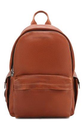 Мужской кожаный рюкзак BRUNELLO CUCINELLI коричневого цвета, арт. MBZIU243   Фото 1
