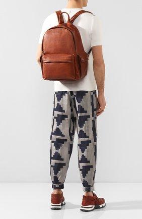 Мужской кожаный рюкзак BRUNELLO CUCINELLI коричневого цвета, арт. MBZIU243   Фото 2