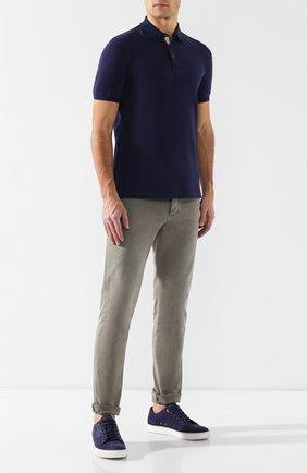 Мужское хлопковое поло BRUNELLO CUCINELLI синего цвета, арт. M0T638307 | Фото 2