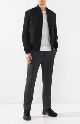 Мужской брюки из смеси хлопка и шерсти BOTTEGA VENETA темно-серого цвета, арт. 470798/VZZY5 | Фото 2