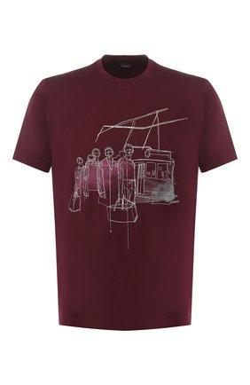 Мужская хлопковая футболка Z ZEGNA бордового цвета, арт. VS372/ZZ630E   Фото 1