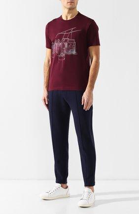 Мужская хлопковая футболка Z ZEGNA бордового цвета, арт. VS372/ZZ630E   Фото 2