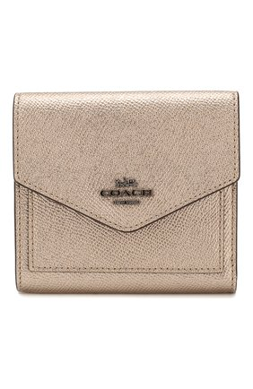Женские кожаное портмоне с отделениями для кредитных карт COACH золотого цвета, арт. 59972 | Фото 1