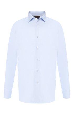 Мужская хлопковая рубашка с воротником кент ZEGNA COUTURE голубого цвета, арт. 402301/9NS0RI | Фото 1