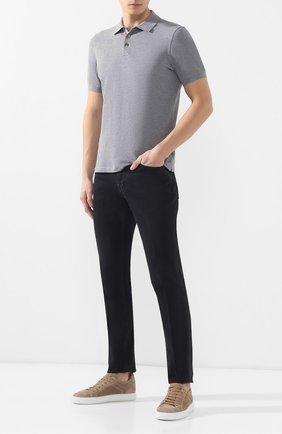 Мужское хлопковое поло BRUNELLO CUCINELLI серого цвета, арт. M0T638307 | Фото 2