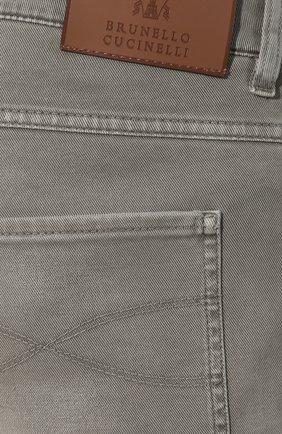 Джинсы прямого кроя Brunello Cucinelli хаки | Фото №5