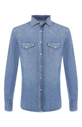 Мужская джинсовая рубашка BRUNELLO CUCINELLI синего цвета, арт. MQ6834008 | Фото 1