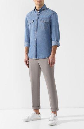 Мужская джинсовая рубашка BRUNELLO CUCINELLI синего цвета, арт. MQ6834008 | Фото 2