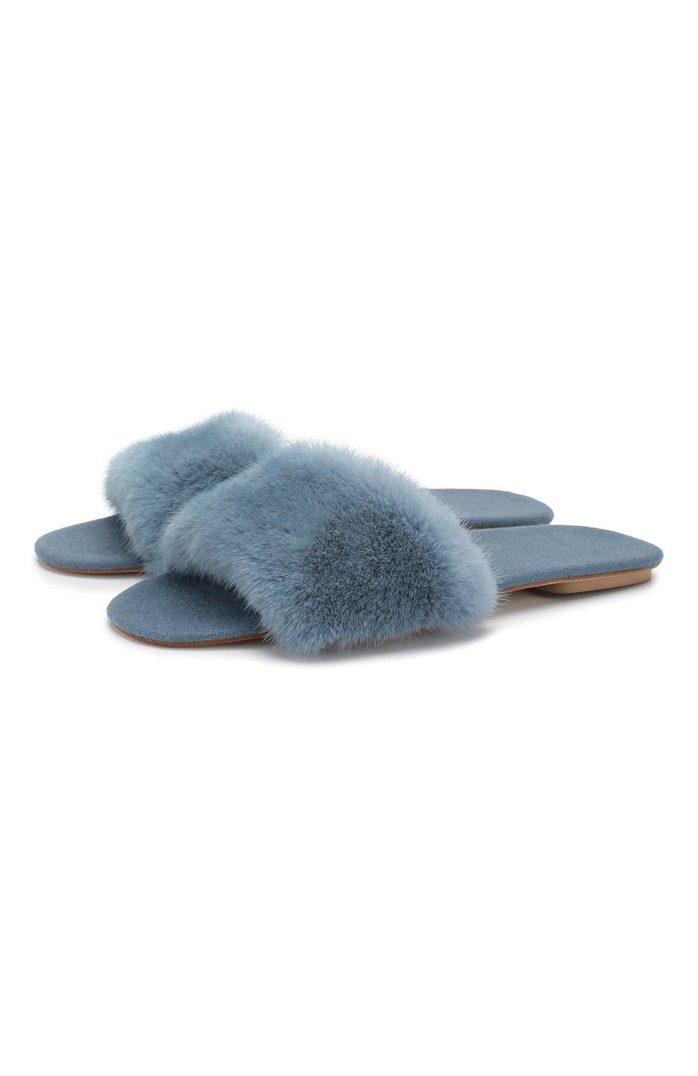 Домашние туфли с отделкой из меха норки | Фото №1