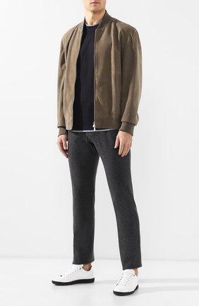 Мужской кашемировые брюки прямого кроя с поясом на резинке BOTTEGA VENETA темно-серого цвета, арт. 511144/VELA0 | Фото 2