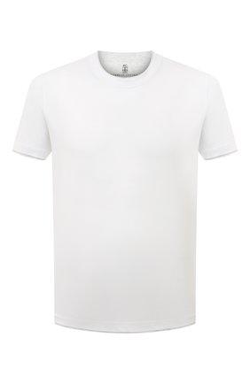 Мужская хлопковая футболка BRUNELLO CUCINELLI белого цвета, арт. M0T617427 | Фото 1 (Мужское Кросс-КТ: Футболка-одежда; Длина (для топов): Стандартные; Статус проверки: Проверена категория; Рукава: Короткие; Материал внешний: Хлопок; Принт: Без принта; Стили: Кэжуэл)