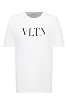 Мужская хлопковая футболка VALENTINO черно-белого цвета, арт. RV3MG10V3LE | Фото 1