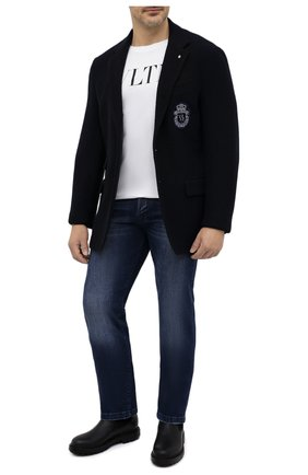 Мужская хлопковая футболка VALENTINO черно-белого цвета, арт. RV3MG10V3LE | Фото 2