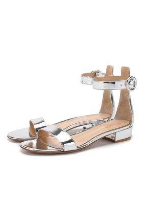 Женские сандалии portofino 20 из металлизированной кожи GIANVITO ROSSI серебряного цвета, арт. G60354.20RIC.METARGE | Фото 1