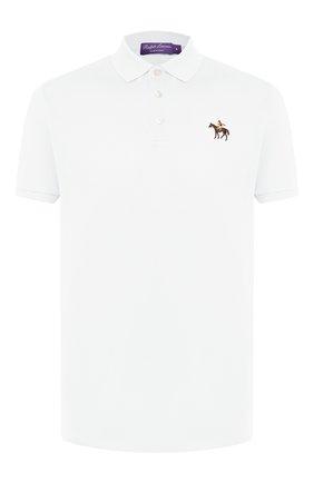 Мужское хлопковое поло RALPH LAUREN белого цвета, арт. 790508036 | Фото 1
