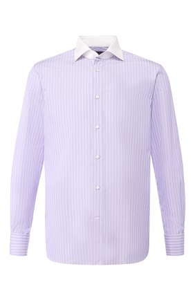 Мужская хлопковая рубашка с воротником кент RALPH LAUREN лилового цвета, арт. 791716779 | Фото 1